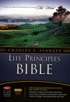 NKJV - Charles Stanley Life Principles Bible Burgundy Bonded Leather