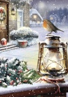 Christmas Cards - Robin on an Oil Lamp - Pack of 10 - CMS - F2024